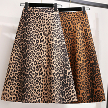 YICIYA plus size Leopard skirt satin for Women midi 3xl 4xl 5xl large zipper high waist vintage 2019 loose yellow mid clothing