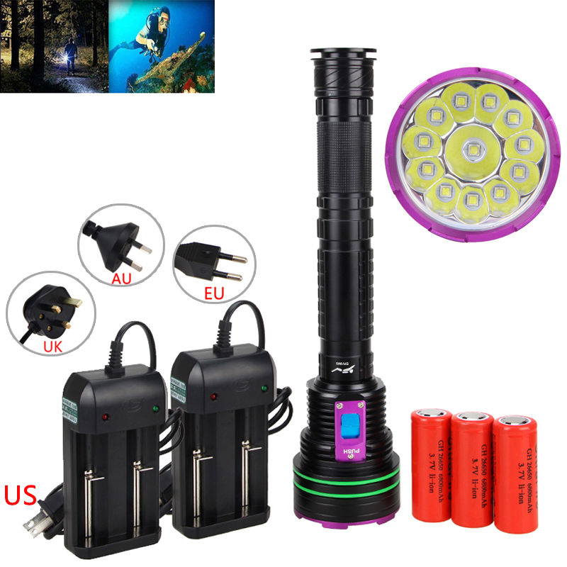 30000LM Underwater 60m Diving Light 12*XML L2 LED Diving Scuba Flashlight Torch+3x26650 Battery+Charger underwater 100m 30000lm diving light 12 xml l2 led diving scuba flashlight torch 3x26650 battery charger