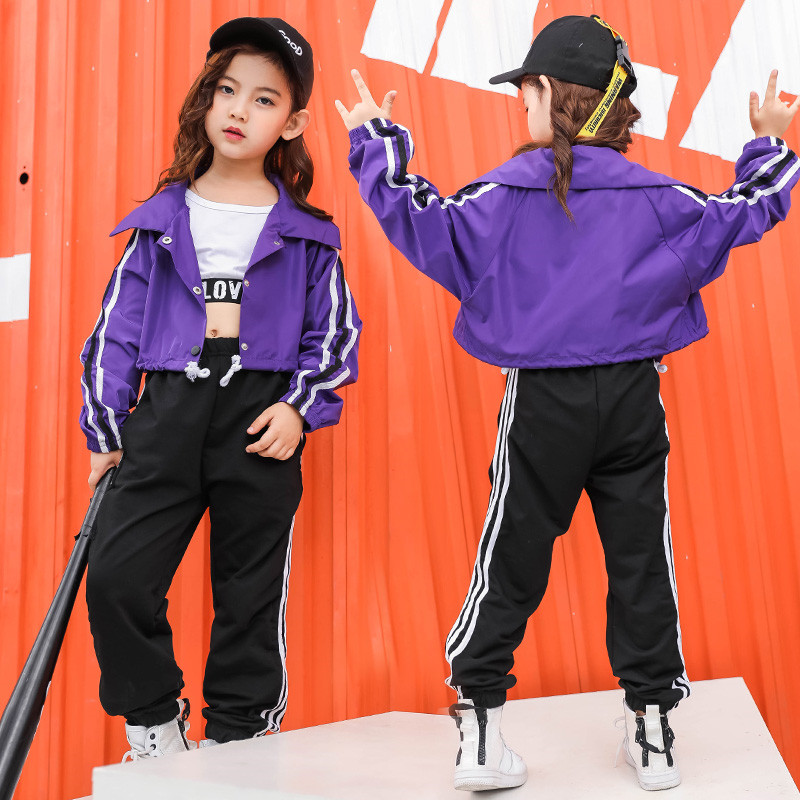 Teenage girls clothing Crop Purple Jacket Top 10 12 14 16 T for girls girl hip hop clothes