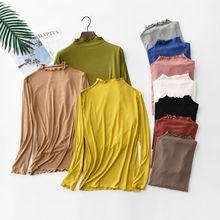 купить Ribbed Ruffles Autumn T Shirt Women Cotton Casual Striped T-Shirt Women Korean Tops Tee Shirt Femme Slim Black Tshirt Harajuku дешево