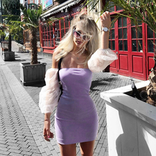 WannaThis Puff Sleeve Slash Neck Dress Knitted Stetchy Women Sexy Slim Skinny Casual Sweet Spring Summer Fashion Dresses