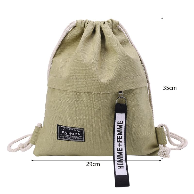 Купить с кэшбэком School Gym Drawstring Bag Cinch Sack Canvas Storage Pack Rucksack Backpack Pouch