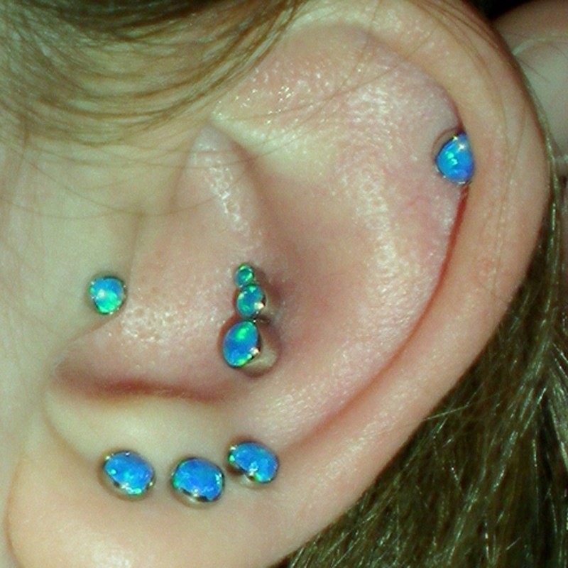Pair Round Opal Ear Helix Tragus Cartilage Piercing Stud Labret Lip Rings Triple Earring Body Jewelry 16g In From