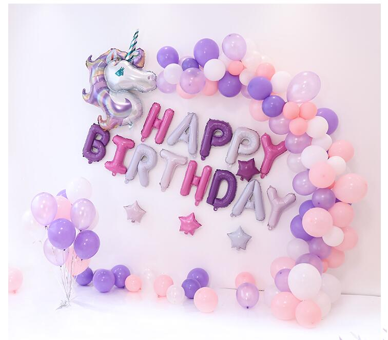 Birthday Unicorn Decoration Kids Party Balloon Favor Decor Rainbow Animal Ballons Wedding Inflatable Unicorn Toy Cartoon Hat
