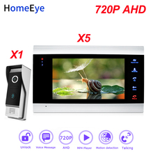 HomeEye 720P AHD Video Door Phone Video Intercom Home Access Control System 1-5 Motion Detection Security Alarm DoorBell Speaker touch screen wired wifi ip video door phone intercom video doorbell villa apartment access control system motion detection