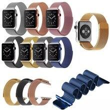 8 color 1:1 original enlace pulsera correa milanese lazo correas de reloj correa de reloj banda de acero inoxidable para apple watch iwatch 38mm42mm