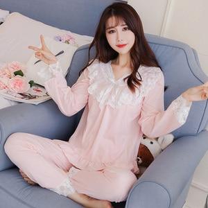 Image 5 - Pajamas female spring autumn Sexy Princess breeze Korean version fresh student long sleeved pure cotton two piece winter suit