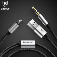 Baseus 2 in 1 Aux Audio Cable For iPhone Adapter splitter For iPhone 8pin and USB to aux jack 3.5mm for Headphone Car speaker