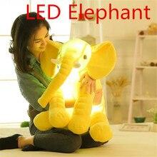 1 шт. со светодиодной подсветкой детские мягкие, быть светящиеся слон Playmate спокойно кукла Игрушки для маленьких детей Слон Подушки детские плюшевые Игрушечные лошадки Бесплатная доставка