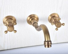 купить Antique Brass Bathroom Sink Mixer Tap Faucet Dual Handles 3 Holes Mixer Tap Wall Mounted Bathroom Faucet zsf512 дешево