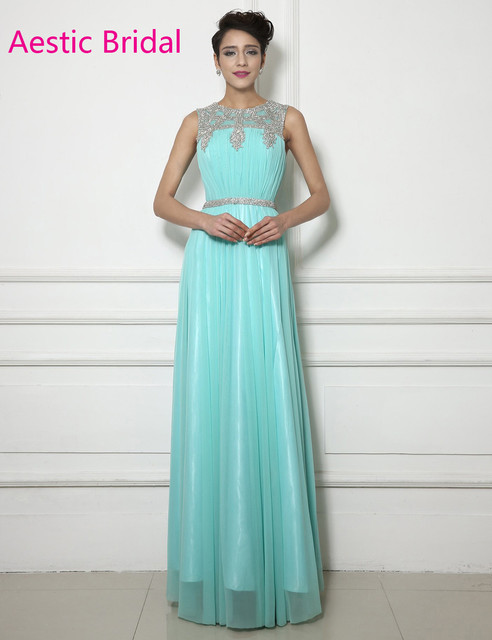 e8886b2aa5fe Vestido Formatura Mint Green Chiffon A Line Prom Dress With Beaded Neckline  Vestidos De Festa