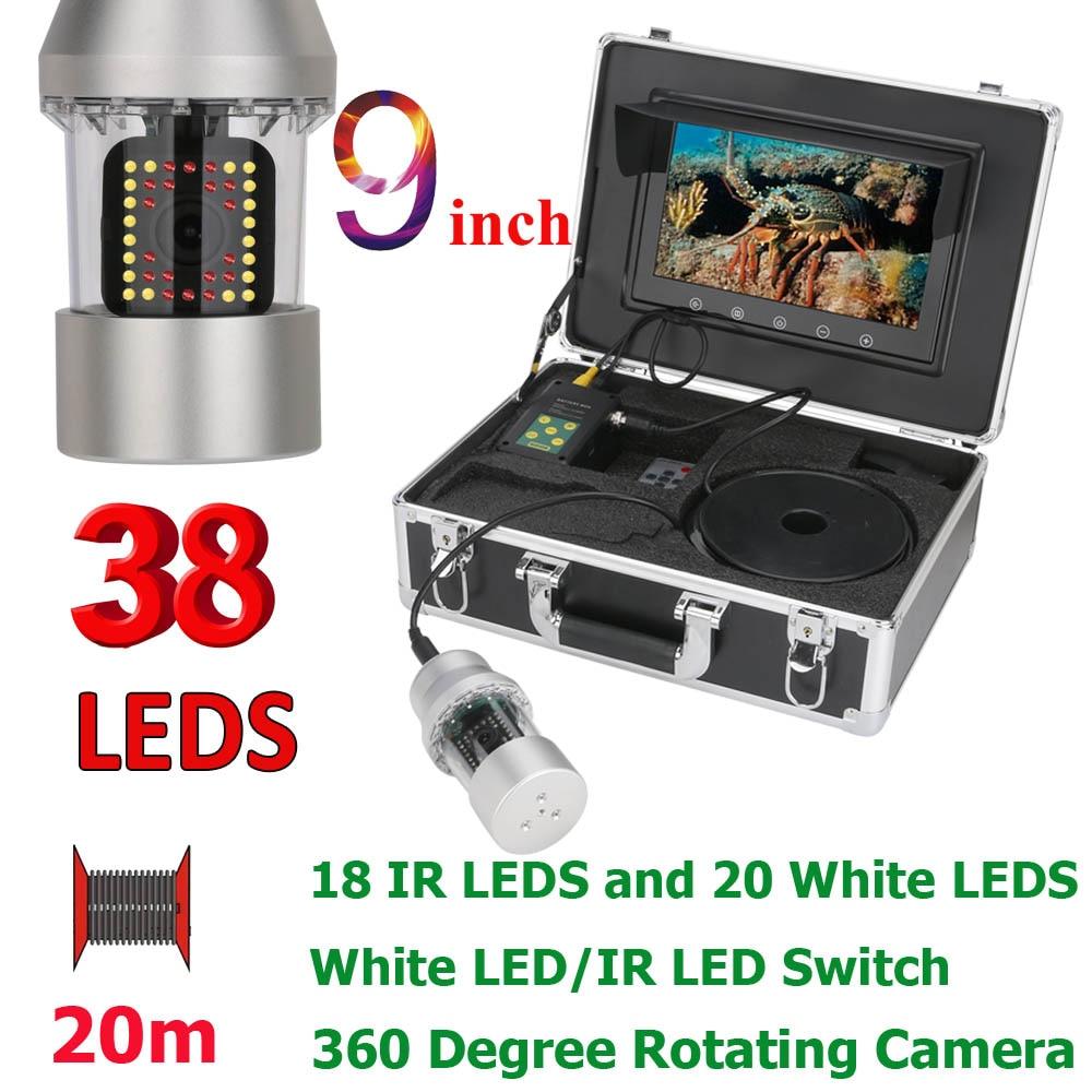MAOTEWANG, 9 дюймов, 50 м, 100 м, подводная рыболовная видеокамера, рыболокатор, IP68, водонепроницаемая, 38 светодиодов, вращающаяся на 360 градусов камера - Цвет: 38 LEDs 20M Cable