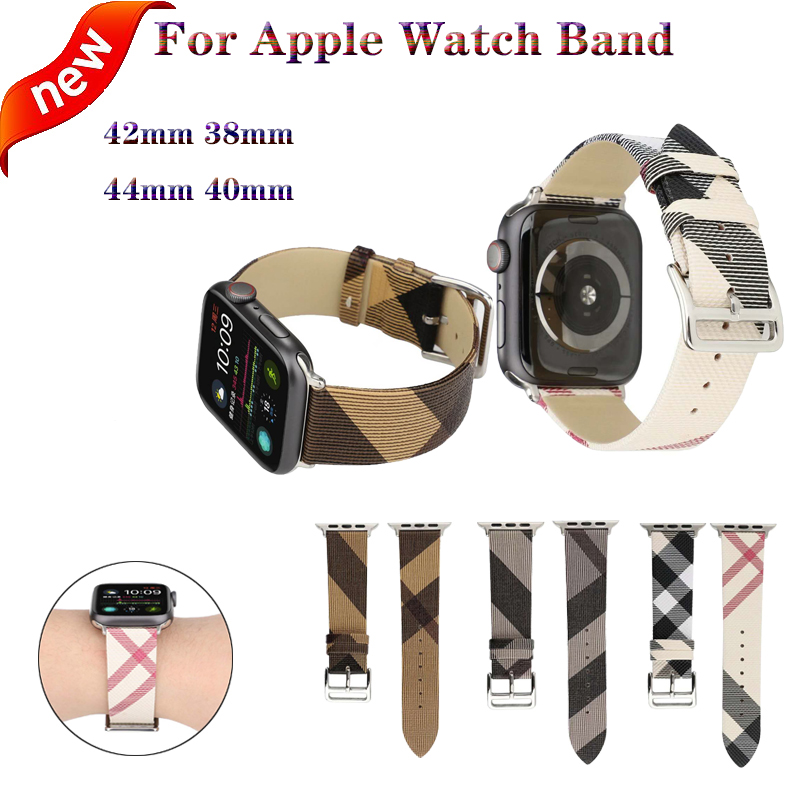 Plaid Pattern Leather Bracelet strap For Apple Watch band 4 44 40mm women men watches wristband For iwatch series 3 2 1 42 38mm in Watchbands from Watches
