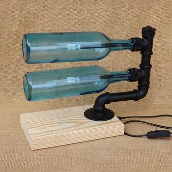 Современные витражные 2 стеклянные бутылки Абажур Настольная лампа включает в себя двойные G4 лампочки деревянное основание табель свет для...