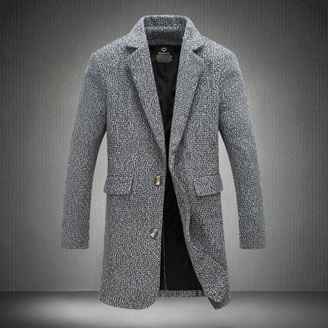Outono Homens Casaco de Lã 2016 Nova Chegada Dos Homens Casaco Longo de Lã Homens Terno Gola do casaco Estilo Moda Slim Trench Coat Dos Homens Maré