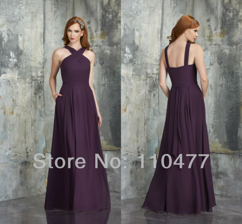 Gorgeous Chiffon Pleated Purple Eggplant Bridesmaid Dresses With Straps Long Dress For Wedding Guests Fb368 In From Weddings