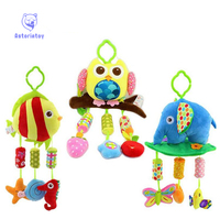 Baby Rattle Ring Bell Baby Plush Owl Elephant Fish 3 Style Lathe Hanging Musical Baby Toy