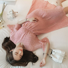 korean pregnancy  Print Chiffon Maternity Dress 2019 Summer Korean Fashion Clothes for Pregnant Women Floral Pregnancy Clothing