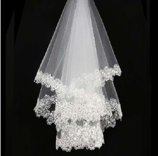 Excellent New White Ivory Wedding Bridal Veils With Lace Liques Sequins Free Shipping In From Weddings Events On Aliexpress Alibaba