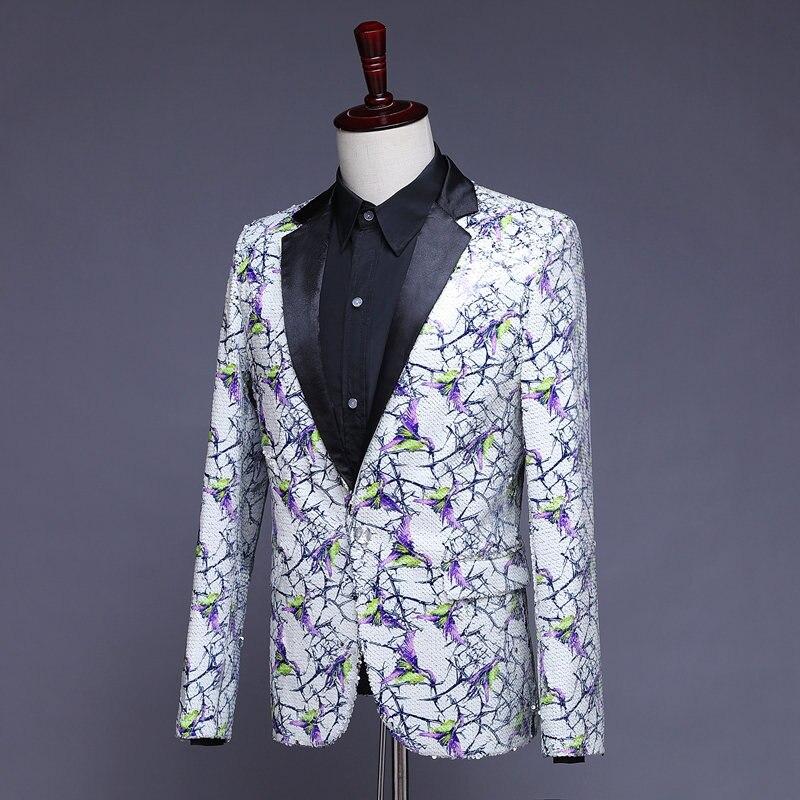 Stilvolle Herren Glitter Blazer Männer Pailletten Blazer Heren Colberts Americana Hombre Bling Anzug Männer Jacke Blazer Steampunk Homme - 5
