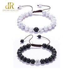 DR 2Pcs Adjustable White Howlite Bracelet for Women Lava Stone Essential Anxiety Diffuser Natural Couple Bracelets Bangle