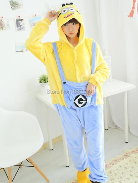 Kigurumi Winter Adult Minion Onesie Cosplay Costume Adult Minion Pajamas  Christmas Sleepwear Hoodie Pyjamas f34a87b914fac
