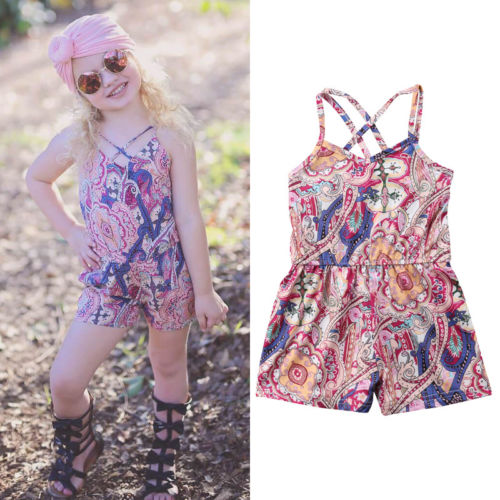 f437b5aef Hot Sale Toddler Baby Girl Floral Romper Boho Style Strap Backless ...