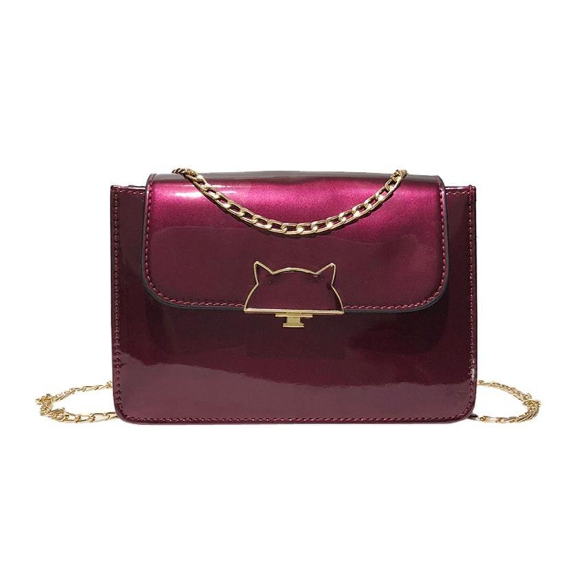 Для женщин модная лакированная кожа флип сумка Сумка lady cat декоративной пряжкой небольшой площади сумка # F