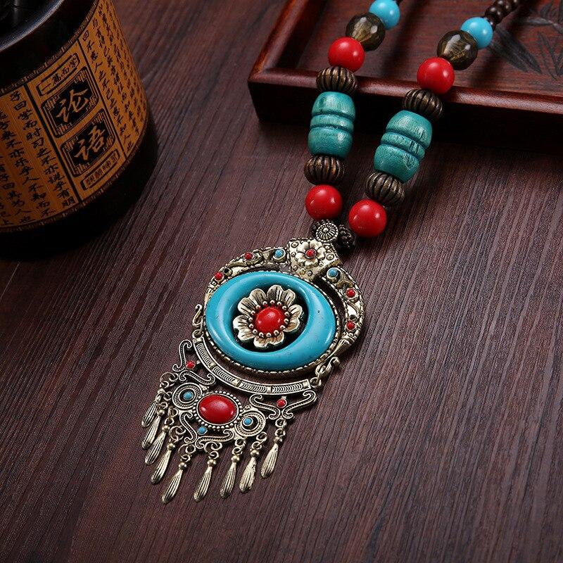 Chandail chaîne collier pendentif style folklorique femme tibétain Miao danse ornements perles accessoires rétro