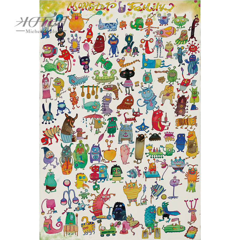 Michelangelo Wooden Jigsaw Puzzles 500 1000 1500 2000 Pieces Monster Family Cartoon Animals Educational Toy Painting Home Decor