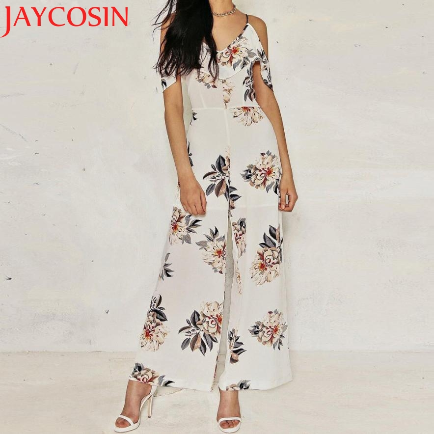 2017 Womens Sexy Print Holiday Casual Playsuit Ladies Jumpsuit Z717