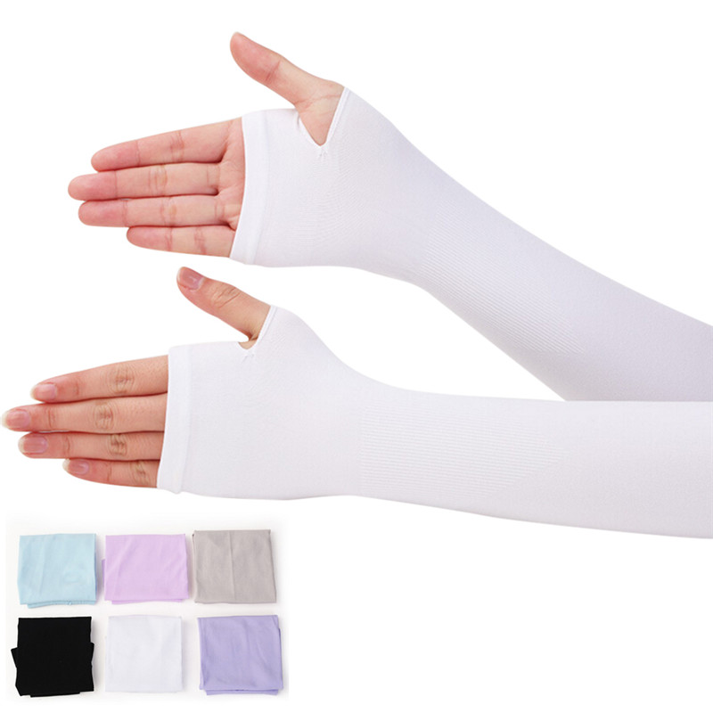 1Pair Sun Hand Protection Long Gloves Women Sunscreen Anti-UV Arm Warmer Half Finger Cotton Long Fingerless Gloves Cuff
