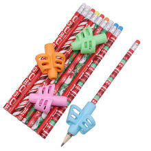 Stationery set Christmas pencil 10 pcs plus 4 pcs pen grip Four-color mixing writing tool School supplies Device to hold pen(China)
