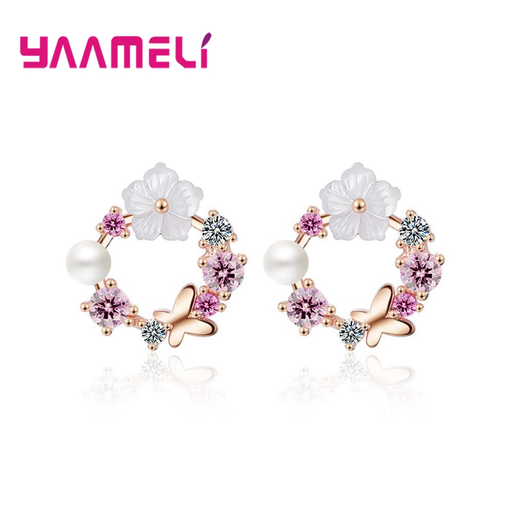 0e0f33e53dcd YAAMELI nueva moda 925 joyas de plata esterlina para mujer Regalo boda  pendientes de esmalte presente de aniversario - www.salleram.ga