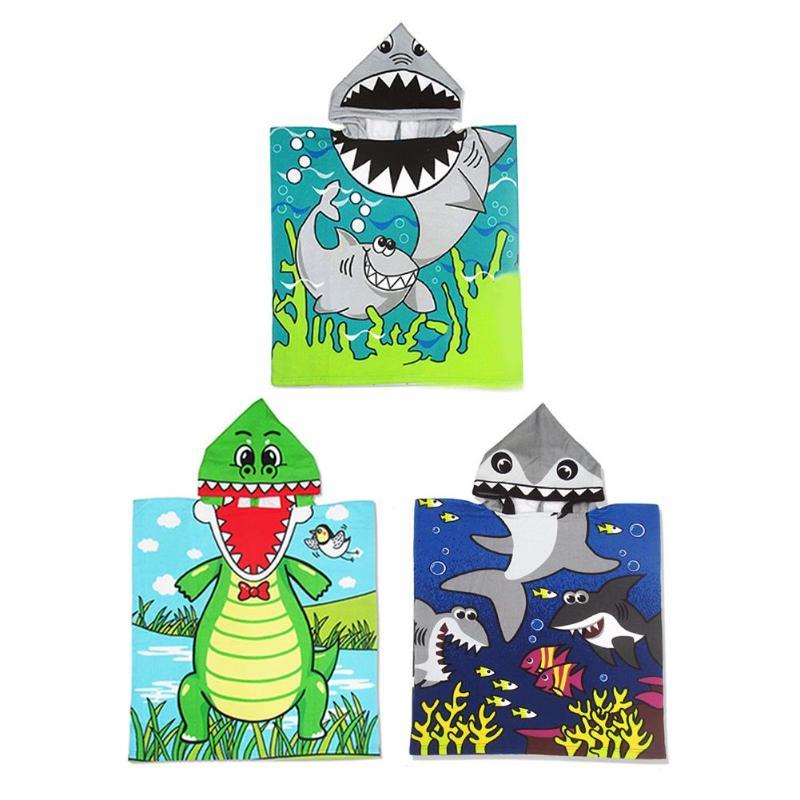 Cute Cartoon Children Hooded Bath Towel Baby Kids Printed Cloak Beach Towel Boys Girls Kids Swimming Breathable Beach Towel