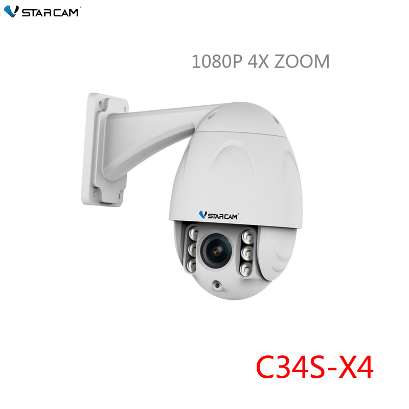 VStarcam CCTV PTZ Dome IP Camera Wifi Outdoor HD 1080P 2MP 4X Zoom 3.3-12mm Len, Security Video Network Surveillance,SN: C34S-X4 vstarcam outdoor ip camera 1080p full hd wifi dome ir night vision 4x zoom waterproof cctv security video surveillance camera