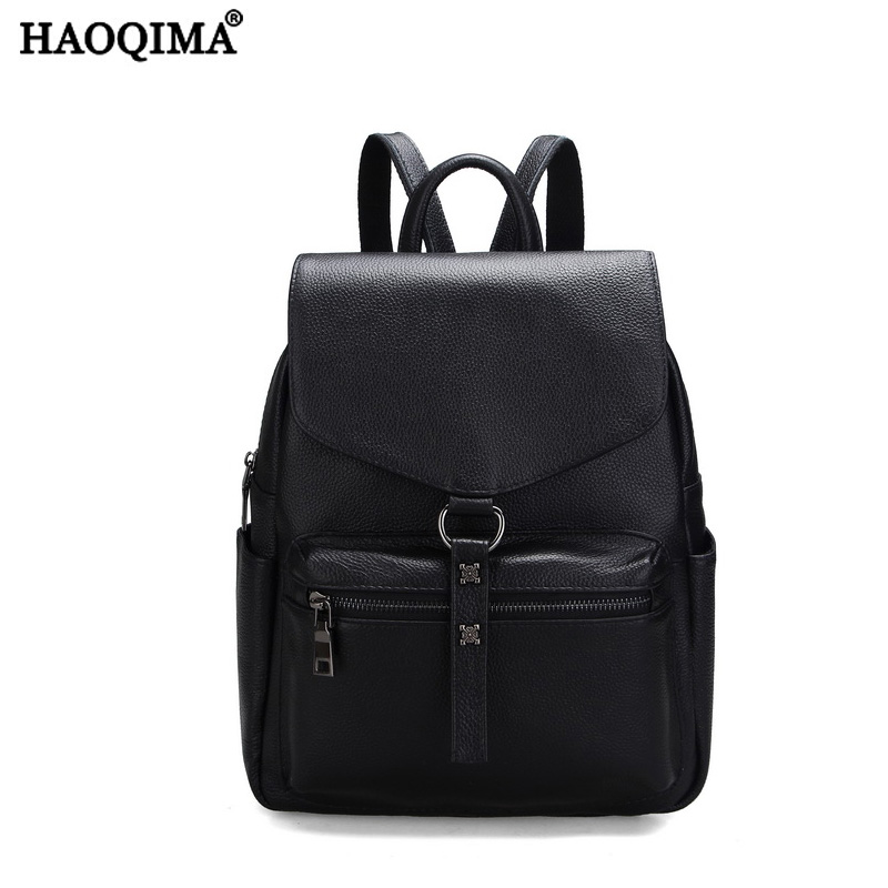 HAOQIMA 2018 New Famous Brand Genuine Leather Real Cowhide Women Backpack Girl School Backpacks Bag For Teenagers