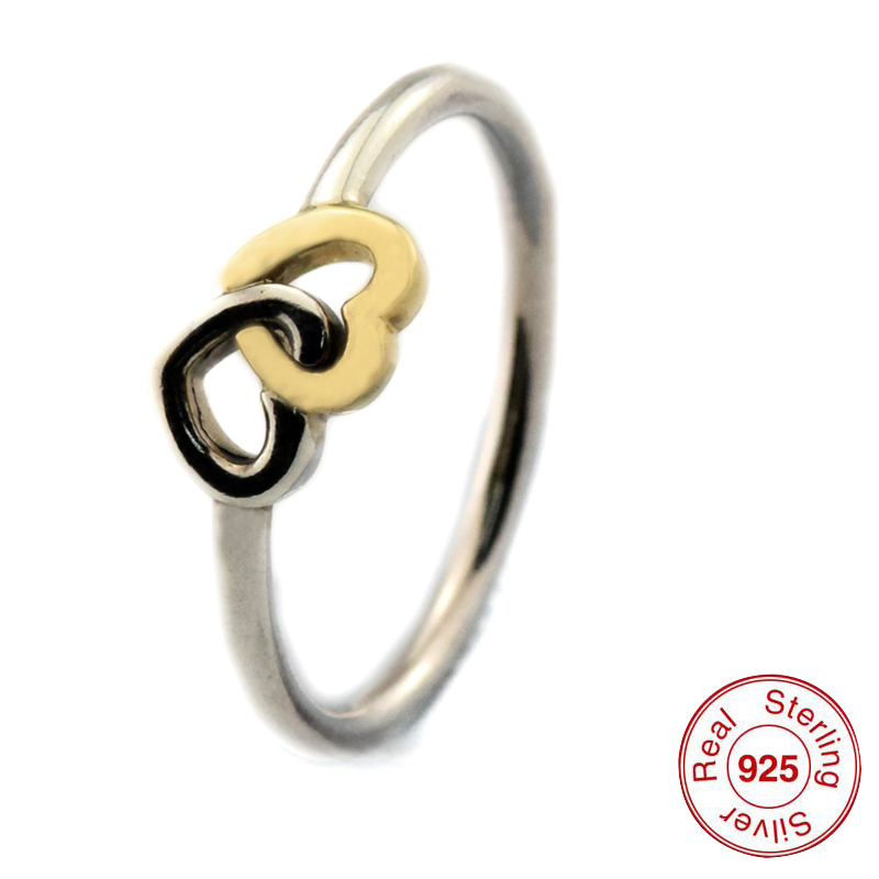 Heart Ring with 14K Real Gold Sterling Silver Jewelry Free