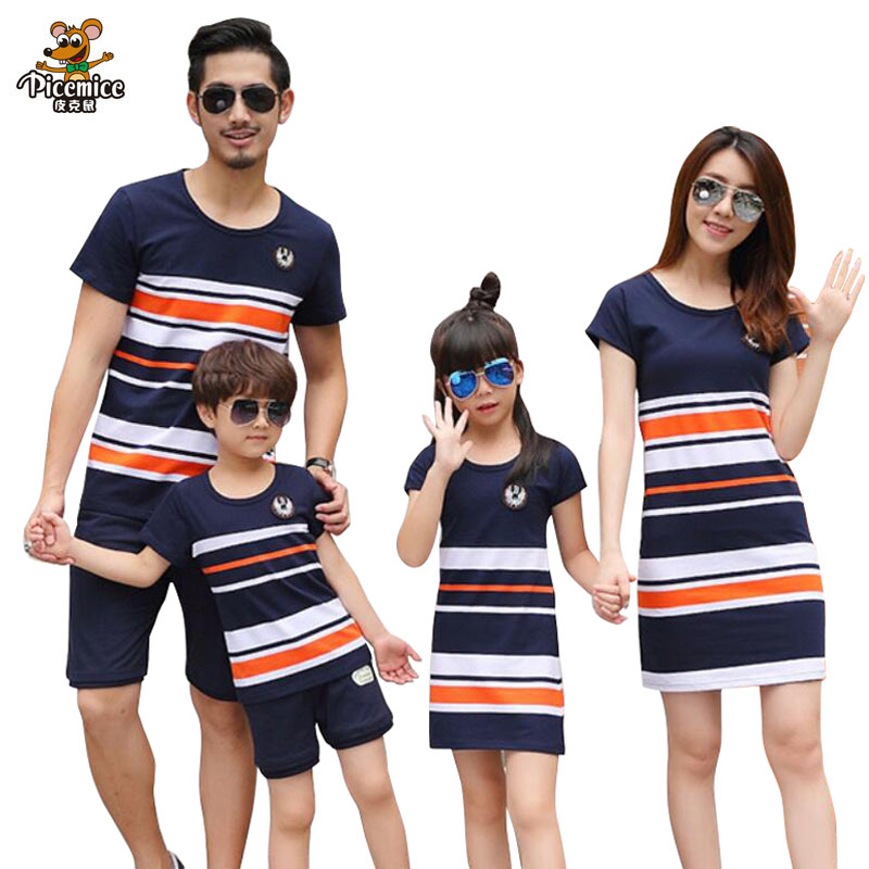 Plus Size Family Clothing 2018 Summer Fashion Striped T-shirt Outfits Mother Daughter Dresses Father Son Boy Girl Clothes set цена 2017