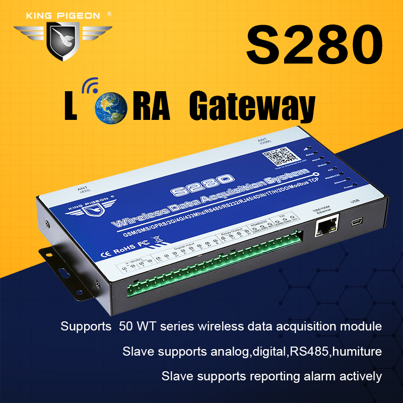 Wireless LoRa Gateway GSM Data Acquisition System Modbus RTU Master Supports RF 433Mhz SMS Alarm Controller S280