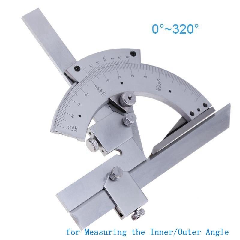 Ángulo regla 0-320 grados Universal transportador de acero al carbono goniómetro ángulo de instrumentos de medida para instrumentos de medida interior/exterior ángulo