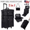 Mayitr 2 In 1 Professional Nylon Makeup Cosmetic Rolling Trolley Case Bag Organizer Makeup Accessory