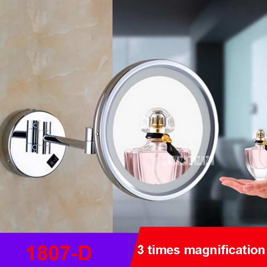 New 1807D Wall Mounted Makeup Mirrors 8 Inches Round Side Folding LED Light Magnifying Mirror Bathroom Cosmetic Mirror 110V/220V new fashion 6 inches led bathroom mirror dual arm extend 2 face metal makeup mirror 5x magnifying wall mounted extending folding page 3