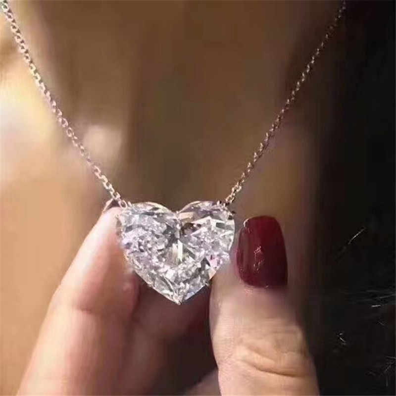 choucong Big Heart Pendant 15mm AAAAA Zircon cz Real 925 Sterling silver Party Wedding Pendant Necklace for women Bridal jewelry