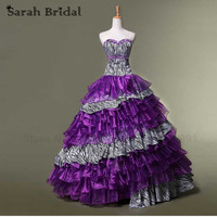 Fashion Purple Organza Quinceanera Dresses Ball Gown 2017 Sexy Sweetheart Puffy Pageant Dress vestidos de 15 anos In stock SD073
