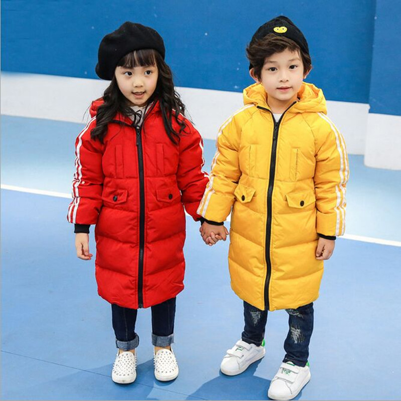 ФОТО 2016 Children's Winter Jackets  Boys And Girls Dock Down Coat  Long  Hooded Windproof  Waterproof Thick Warm Children Parka
