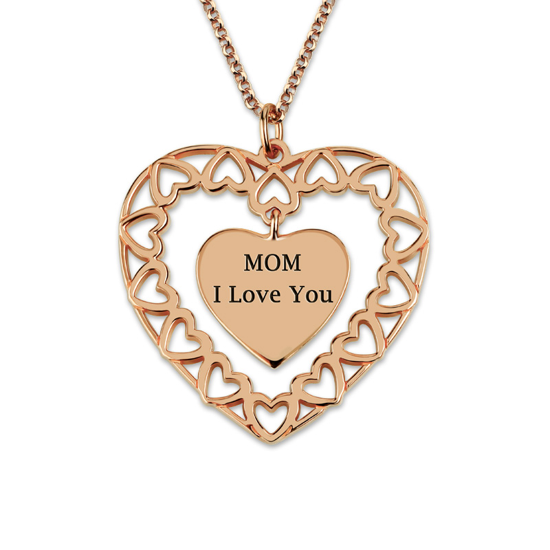 AILIN Customized Engraved Family Love Circle Necklace Rose Gold Color Heart Pendant Mother's Necklace yoursfs love in circle 18k white gold plated heart shaped pendant necklace open heart engraved love for women best fashion jewel