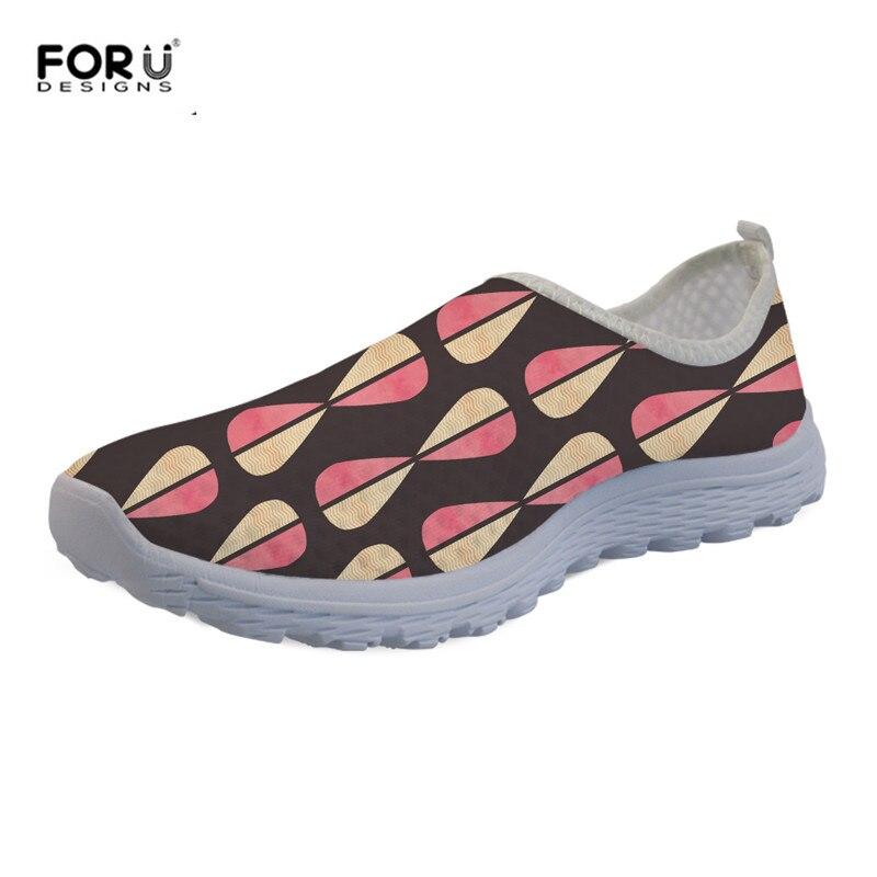 FORUDESIGNS Mesh-Sneakers Geometric Light Water-Flats-Shoes Slip-On Casual Summer Women