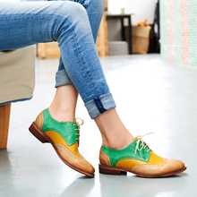 Oxford Shoes Women Footwear Perforated-Leather Brogues Flat Vintage Casual Yinzo Lady