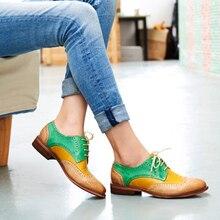 Женские оксфорды на плоской подошве Yinzo, винтажные повседневные туфли оксфорды из перфорированной кожи на плоской подошве, 2020